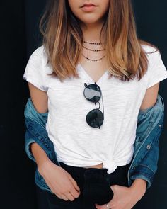 edgy outfits, edgy fashion, casual outfits, casual outfit, denim jacket outfit, t-shirt and jeans outfit, ray ban sunglasses, how to layer necklaces, how to style chokers, simple outfit, simple jewelry, necklace, simple style, simple outfits for school, simple outfits for school winter, teen outfits, simple outfits for teens