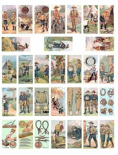 Boy scouts cub scout vintage clip art digital download collage sheet 1 BY 2 inch. $1.99, via Etsy.