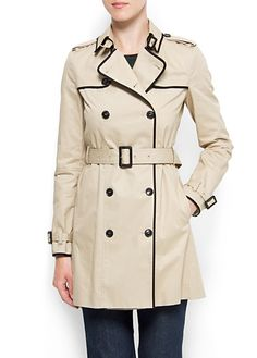 MANGO - CLOTHING - Coats - Contrast trimming trench $129.99