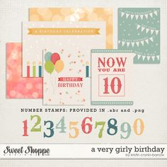 A Very Girly Birthday journal cards freebie from Kristin Cronin-Barrow #printable #pocket #ProjectLife