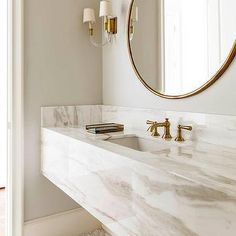 White and Gold Bathroom with Marble Floating Vanity, Contemporary, Bathroom