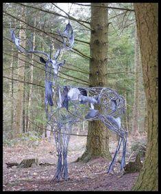 Galvanised wrought iron Deer sculpture by sculptor David Freedman titled: 'Fallow Deer (Metal Ghostly abstract garden statue)' - Artwork View 2