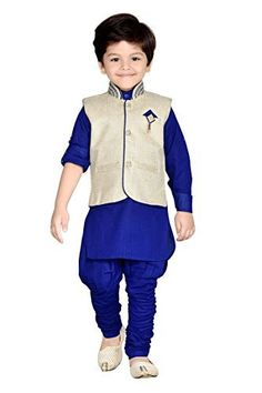 Blue Kids Partywear Kurta Pyjama and Waistcoat Set Kids Kurta, Kids Party Wear Dresses, Kids Blouse Designs, Kids Ethnic Wear, Stylish Dress Designs, Baby Boy Dress, Boys Hoodies, Indian Wear, Kids Wear