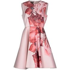 Giambattista Valli Knee-length Dress (6.030 BRL) ❤ liked on Polyvore featuring dresses, pink, pink knee length dress, pink dress, multi color dress, zip dress and knee high dresses