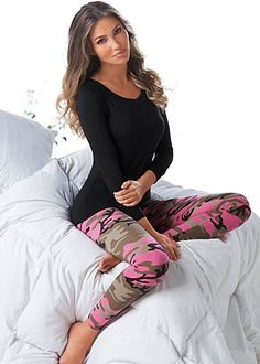 Keep her comfy in this Black Off Shoulder Sleep Tee (sizes XS - XL) and Pink Multi Camo Printed Leggings (sizes XS- XL)!