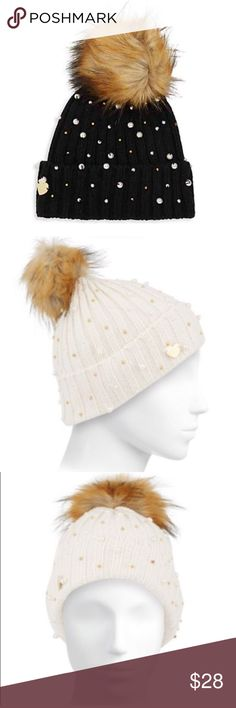 ✨NWT✨ Betsey Johnson Black Winter Hat Pearls Fur NWT! Betsey Johnson black winter hat with faux pearls and gold beads. Faux fur topper. 100% acrylic. ***No Trades*** Betsey Johnson Accessories Hats