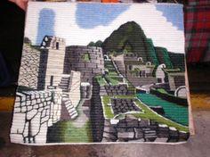 Traditioneller handgewebter Motivteppich, Machu Picchu, 100 x 100 cm