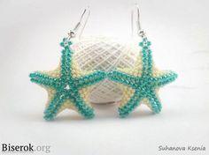 Make a starfish earrings using simple plastic beads or seed beads #Seed #Bead #Tutorials