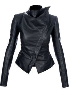 Gareth Pugh asymmetric leather jacket. You can check out more leather jackets here: http://www.wantering.com/trends/leather-jackets/