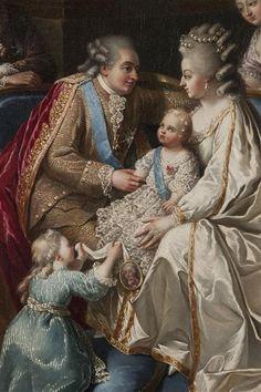 Louis XVI, Marie Antoinette, Marie Thérèse Charlotte and the infant Louis Joseph. Detail from an painting circa 1782. [credit: (C) Château de Versailles, Dist. RMN-Grand Palais / Christophe Fouin]