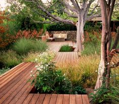 Like this timber and plant combination. Similar concept for deck off front patio would be great. Even timber deck the current tiled patio! Backyard Patio Designs, Small Backyard Landscaping, Landscaping Ideas, Backyard Pergola, Pergola Kits, Sloped Backyard, Modern Garden Design, Landscape Design, Contemporary Garden