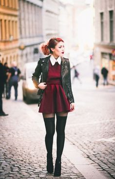 cute outfit grunge look 60 Fashion, Grunge Fashion, Fashion Outfits, Womens Fashion, Fashion Trends, Grunge Outfits, Trendy Outfits, Cool Outfits, Outfits With Tights