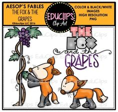 the fox and the grapes aesops fable clip art bundle