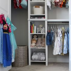 We're obsessed with this small closet makeover by @containedbycrystal. #SmallCloset #KidsRoom #InteriorDesign Low Shelves, Shelving, Velvet Hangers, Extra Bed, Out Of The Closet, Closet System, Kids Storage, Closet Bedroom, White Wood