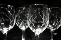 Wedding glasses. Personalized etched wine glasses by lovealush, $69.95