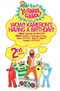Yo Gabba Gabba - Birthday invite