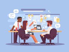 Work schedule, working environment illustration
