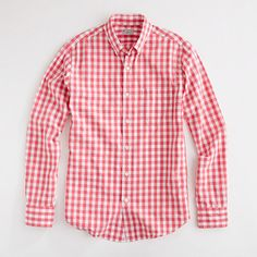 J.Crew Factory slim washed button-down shirt in salmon gingham