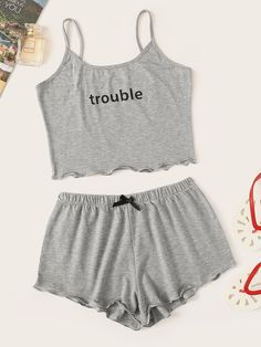 Letter Print Cami Pajama Set - Pajama Sets - Ideas of Pajama Sets Cute Lazy Outfits, Teenage Outfits, Teen Fashion Outfits, Trendy Outfits, Girl Outfits, Emo Fashion, Gothic Fashion, Cute Pajama Sets, Cute Pjs