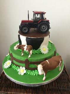 Farm cake for a farmers birthday. Bought Schlief animals and a Britains tractor so he can keep them after! Needs cake boards and dowel to support the weight. Birthday Cakes For Men, Farmer Birthday Cake, Tractor Birthday Cakes, Toddler Birthday Cakes, Tractor Cakes, Farm Birthday, Cow Cakes, Cupcake Cakes, Bolo Do Paw Patrol