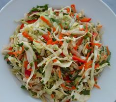 Savoy slaw with mint and cilantro.  Yum.  From Alexis Stewart blog.