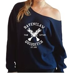 Harry Potter Inspired Ravenclaw Quidditch Slouchy Oversized Sweatshirt