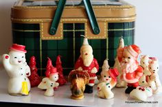 """""""Gurley was a candle manufacturer that made highly collectible figural holiday candles from the very late 1930's through the 1970's. You probably remember them from Grandma's house."""" My mom and grandma had lots of these. They made so many kinds. I remember the Christmas trees, snowmen, Santa, angels...so many...cute cute. Alas, you couldn't burn them without destroying them."""
