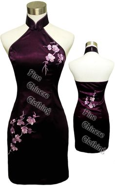FINE CHINESE CLOTHING - Women Cheongsams/Qipao Knee Length - Attractive Chinese Embroidery Silk Qipao - Plum Blossoms