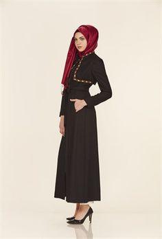 Nakışlı Hakim Yaka Siyah Pardesü Fashion, Moda, Fashion Styles, Fashion Illustrations