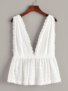 To find out about the Plus Eyelet Embroidery Deep V Neck Backless Top at SHEIN, part of our latest Plus Size Tank Tops & Camis ready to shop online today! Look Fashion, Fashion Outfits, Womens Fashion, Fashion Trends, Lolita Fashion, Daily Fashion, Everyday Fashion, Fashion Fashion, Stylish Outfits
