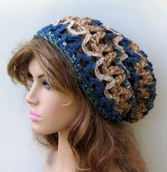 Pecan blue slouchy beanie BoHo Hippie Hat bohemian chunky crochet