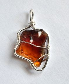 Irregular Carnelian tumbled stone wire wrapped pendant