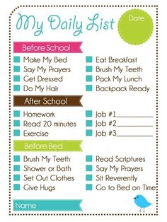 Printable Weekly Chore Chart | Kids Daily List and Chore Chart ... | Printables