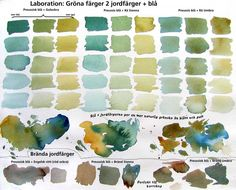 Blues + earth colors by Johan Ramberg. Watercolor Pallet, Watercolor Mixing, Watercolor Landscape, Watercolor Paintings, Watercolors, Watercolour Tutorials, Watercolor Techniques, Painting Techniques, Color Mixing Chart