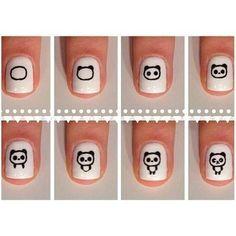 Maquillaje de uñas con un panda kawaii - http://xn--decorandouas-jhb.com/maquillaje-de-unas-con-un-panda-kawaii/