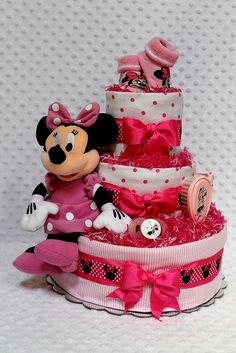 Ideas For Baby Shower Nena Minnie Mouse Mini Mouse Baby Shower, Mickey Baby Showers, Baby Shower Niño, Shower Bebe, Baby Mouse, Baby Shower Princess, Baby Shower Diapers, Huggies Diapers, Disney Diaper Cake