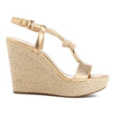 MICHAEL MICHAEL KORS Women's Holly Rope Strap Wedged Sandals - Pale... ($195) ❤ liked on Polyvore featuring shoes, sandals, gold, gold platform sandals, high heel sandals, wedge espadrilles, open toe wedge sandals and wedge sandals