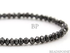Natural Black Diamond AAA Quality Micro Faceted by Beadspoint, $975.95