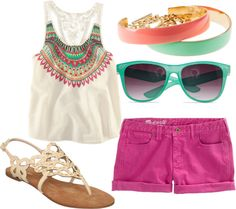 Fun summer outift, created by carlyaivanov on Polyvore