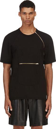 Denis Gagnon: Black Jersey Zip-Shoulder T-Shirt