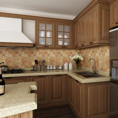 kitchen cabinets, PP, wood grain, OP14-PP01