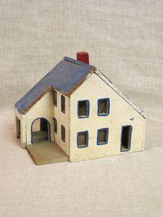 Folk Art Miniature House / Building / Christmas by wilshepherd Clay Houses, Putz Houses, Ceramic Houses, Miniature Houses, Doll Houses, Kitsch, House Silhouette, S Brick, Wood Fish