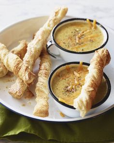 Broccoli Cheddar Soup with cheese straws