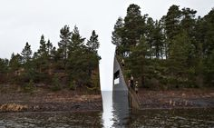 Model of Memory Wound, a 3.5m gap cut into the Sørbråten peninsula by artist Jonas Dahlberg as a memorial for the victims of the 2011 massacre