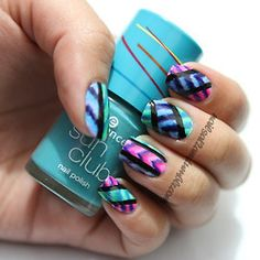 Neon Striped Nails by Nails At 2AM