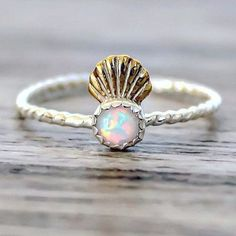 Mermaid Shell Crown and Opal Ring