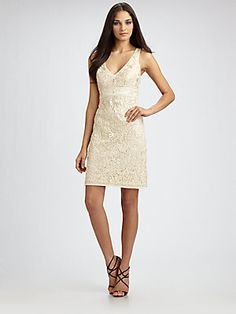 Sue Wong 3D Embroidered Lace Sheath Dress
