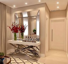 Awesome ideas for decorating the hallway with modern wall mirror designs, home interior wall mirror decor ideas for modern style apartments 2019 Entrance Hall Decor, Entryway Decor, Entryway Ideas, Wall Decor, Living Room Designs, Living Room Decor, Modern Glass, Modern Wall, Hallway Decorating