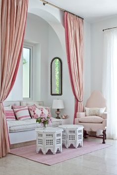 Curtains -- when hung somewhere other than a window -- add softness, color, movement, and perhaps a subtle sense of enclosure or privacy in ...