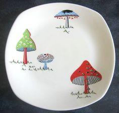 RARE!! Midwinter Toadstools Side plate - 1950s 60s  Jessie Tait  / Retro Conran